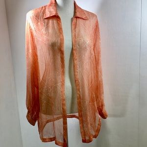 Escada Long Sleeve Silk Sheer Top Coral. 34